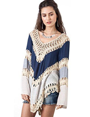 Wuiyepo Frauen Böhmen Langarm Stickerei Spitze Crochet Strick Spliced Bluse (mehrfarbig) -