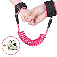 HeQiao Kids Anti Lost Link Child Wrist Harness Baby Safety Leash Toddler Walking Straps (5Ft Pink)