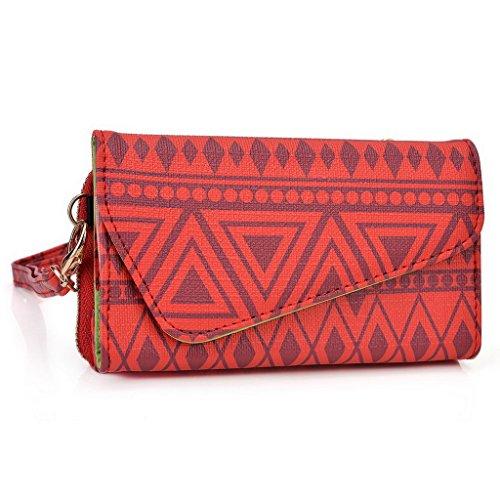 Kroo Pochette/étui style tribal urbain pour Lava 3G 354/Iris 356 Multicolore - vert Multicolore - rouge