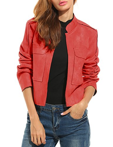 zeagoo-womens-faux-suede-open-front-pocket-slim-short-casual-jacket-coat-medium-red