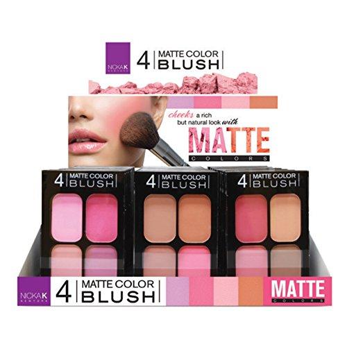 NICKA K 4 Matte Color Blush Palette Display Case Set 24 Pieces