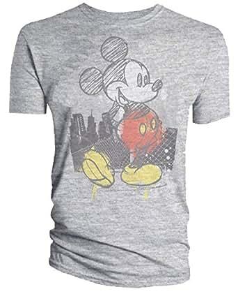 Mens Disney Mickey Mouse Logo Classic Mens T-Shirt (Grey) Medium
