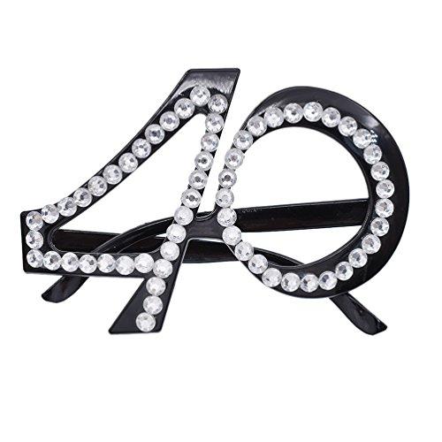 YNuth Occhiali Divertenti Numero 40 Occhiali Cool Eyewear Occhiali da Sole di Costume Senza Lenti Party Favors Glasses Party