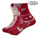 Decha 3 Paar Unisex Mädchen Weihnachtssocken Socks Weihnachtsmotiv Weihnachten Festlicher Baumwolle Socken Christmas Stockings