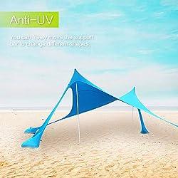 Toldo portátil Lovebay para playa con anclajes de bolsas de arena ligero 100% Lycra SunShelter con impermeable UV Protection 210 x 210 CM para niños y familia en la playa, parques, camping y al aire libre Picnic, azul