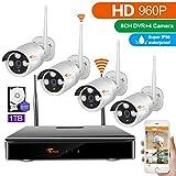 CORSEE 8 Kanal 960P NVR + 4x960P wifi Überwachungs Bausatz,Funk Überwachungsset 4 HD 1.3MP WLAN Netzwerk Außen IP Überwachungskamera,wifi nvr kit,cctv, Handy-View, Bewegungsmelder 1TB Festplatte