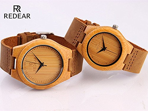 Lovers Watch,Couples Gift, Bamboo Wood Genuine Leather Strap Natural Wood Wrist Watch Japanese Quartz Movement for Women & Men(Woman)