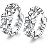 Fashmond- Boucles d'oreilles Créole anneaux Fleur Argent fin 925 oxyde de zirconium Brillant et charmant- Cadeau Fête des mères Anniversaire