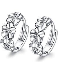 Fashmond Blumen Design Silbrig Ohrring Ohrringe aus echte 925 Sterling Silber für Frauen Damen Kinder Mädchen Geburtstag ValentinstagGeschenke