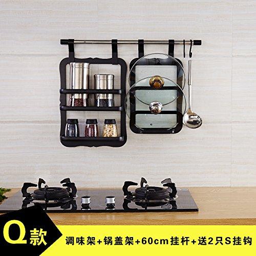Maifeini Schwarze Küche Anhänger, Multifunktionsdrucker Platz Aluminium Küche, Regal, An Der Wand, Gewürze Rack, Rack, Hängenden Stange Kombination, Q