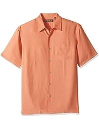 Kahala Men's Short Sleeve Wind N Sea Solid Yarn Dye Hawaiian Shirt