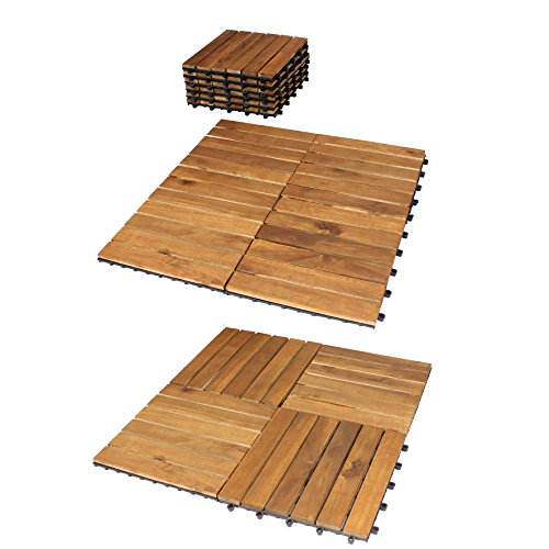 10er Pack Holzfliese 'Ambiente' Akazie Holz Terrasssenfliesen Balkonfliese Holzfliesen Klickfliese