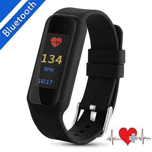 Heart Rater Tracker Monitor, Acekool Waterproof IP67 Health Fitness Watch with Call/MSM Reminder and Calorie Counter for Sleeping Activity Running for Women Men Kids for iOS/Android (Black)