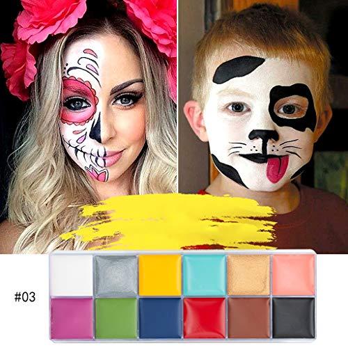 Malerei Körper Kostüm - Dkings Gesicht Körper Farbe Öl 12 Farben, professionelle hypoallergen nicht-toxische Halloween Party Make-up, Gesicht Malerei für Erwachsene und Kinder