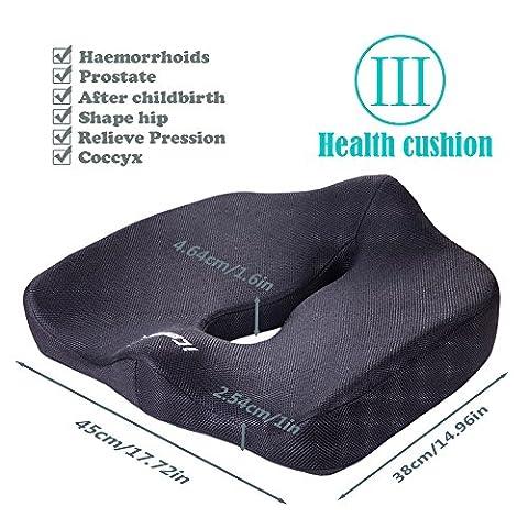 icoudy Memory Soft - Design Ergonomique Pensé pour Réduire le Mal de Dos et les Douleurs au Coccyx - Assise Antidérapante