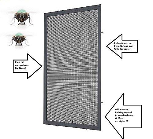 Fliegengitter- Fenster- Mücken- Insektenschutz- Alu- Anthrazitgrau RAL7016 optimal für Rolläden (130cm x 150cm, 19mm Einhängewinkel)