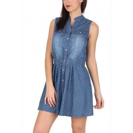 Ideal Shoes - Robe en jeans à pois Marta Bleu