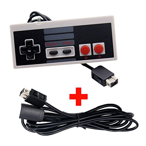 Generic Black Controller Gamepad With Extension Cable For Nintendo NES Mini Classic Edition One piece