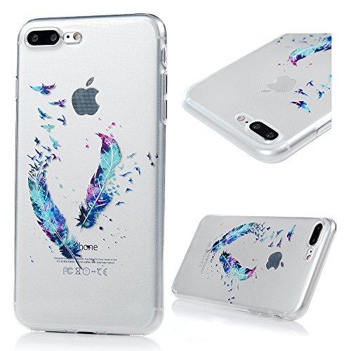 iphone 7 Plus Hülle Case,Badalink Ultra-Slim iphone 7 Plus Case Silikon Soft TPU Premium Durchsichtig Handyhülle Schutzhülle Case Backcover Bumper Slim Case Für iphone 7 Plus 5.5 Zoll, Lila Löwenzahn  Farbige Federn