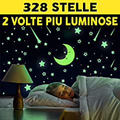 Idea Regalo - Stelline Fluorescenti Adesive 328 Pezzi   Nuovo Set di Stickers Decorativi   Stelle Luminose Per Soffitto Cameretta Bambini   Si Illuminano Al Buio Di Notte