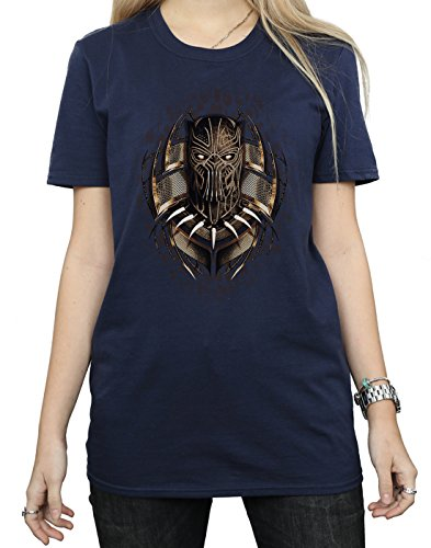 Absolute Cult Marvel Femme Black Panther Gold Erik Killmonger Petit Ami Fit T-Shirt Bleu Marin