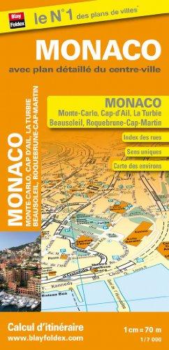 Plan de ville Monaco, Monte-Carlo, Beausoleil, Cap-d'Ail, La Turbie - Echelle : 1/7 000