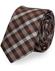 Schmale Krawatte von Fabio Farini kariert in braun