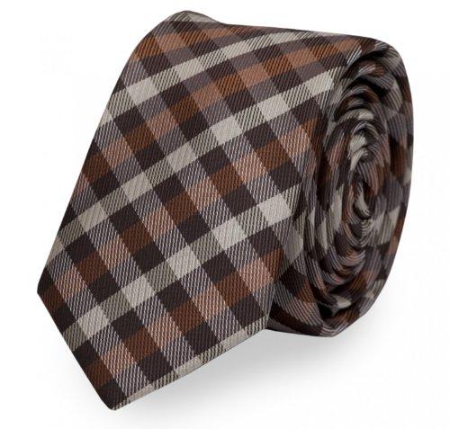 Fabio Farini charmante, klassische 6 cm Krawatte, für jeden Anlass mit Karomuster in warmen Brauntönen