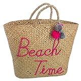 D,casa Capazo de rafia natural para playa rosa vintage France