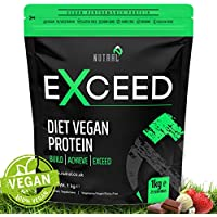 Plant Based Vegan Low Carb Protein Powder - Premium Blend of Pea Protein, Hemp Protein and Brown Rice Protein Blend, Vitamin and Mineral Blend - Exceed by Nutral - Stevia-Free, Organic Whey, Soy-Free Protein Alternative - 1KG 25 Delicious Servings