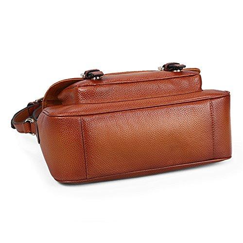 Vintage spalla del cuoio genuino delle donne Myleas Briefcase Messenger Bag Marrone