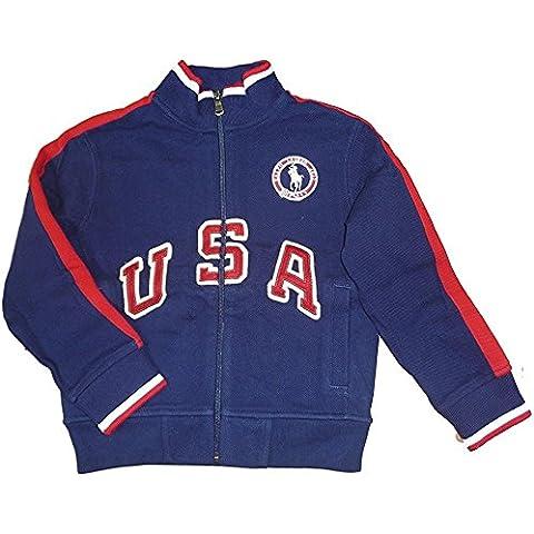 Ralph Lauren bambini giacca felpa da ragazzo USA US Open Olympic Team blu scuro rosso bianco (104)