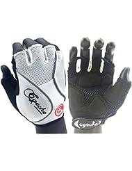 Cgecko especial absorción de golpes Mountain Reflex Gel Bicicleta Medio Dedo Guantes Deportes al aire libre guantes guante de corto de ciclismo para, color blanco, tamaño medium