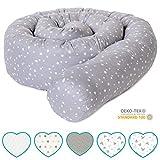 mimaDu Bettschlange, Bettrolle (210 cmx 10cm) Bettumrandung für Babybett - weich und kuschelig - ÖKO-Tex zertifiziert Sternen (grau-weiss)