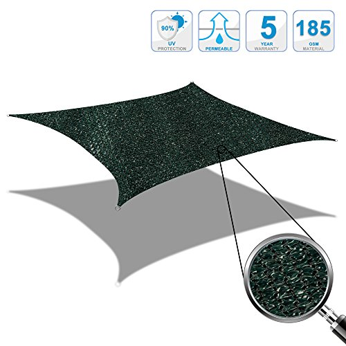 Cool area tenda a vela quadrato 5 x 5 metri protezione raggi uv, resistente e traspirante (vari colori e misure) (verde)