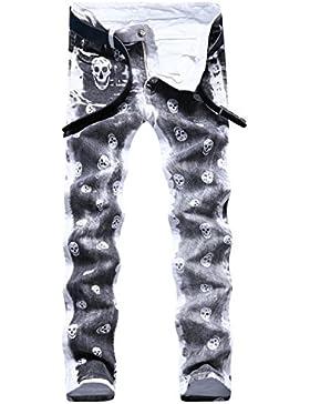 Sasairy Hombre Pantalones de Algodón con Impresión de Snakeskin Pantalones Rectos Pantalones Casual para Hombre...