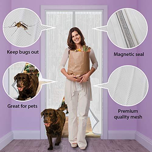 ARVO - Cortina mosquitera magnética para Puerta de hasta 86 cm x 208 cm, Color Blanco