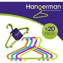 hangerman–Juego de 20perchas de plástico para ropa infantil (para niños perchero de pared de ropa Perchas de plástico colgar bebé niño niños niños de almacenamiento