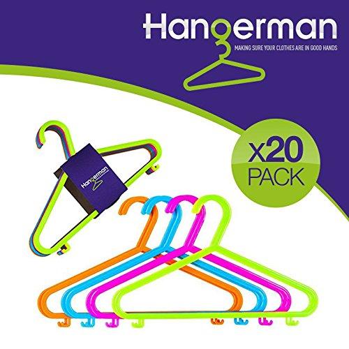 Hangerman–Juego de 20perchas de plástico para ropa infantil - Perchas de plástico para colgar y almacenar ropa de niños