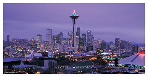 Culturenik Seattle Washington Violett Skyline Deko City Reisefotografie Poster Print 12 by 24 Rolled Violett