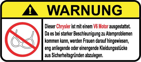 Pt Cruiser Aufkleber (Chrysler V6 Motor German Lustig Warnung Aufkleber Decal Sticker)