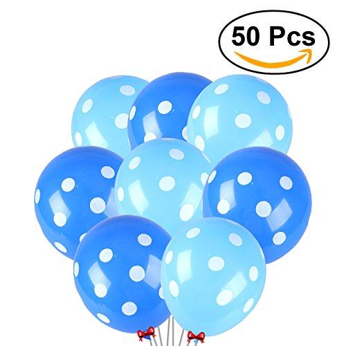 NUOLUX 50 piezas de látex de polka punta 12 pulgadas de globos para la decoración fiesta de cumpleaños de la boda (Azul y azul claro)