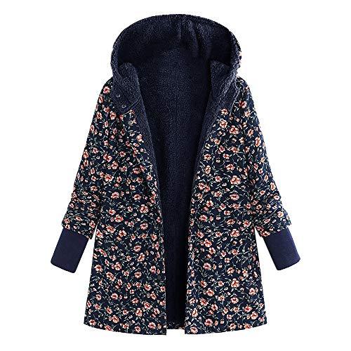 Cappotti invernali da donna - donne plus size giacche da donna caldo outwear bohemian floreale stampa concappucciata tasche vintage oversize cappotto(navy 6,4xl)