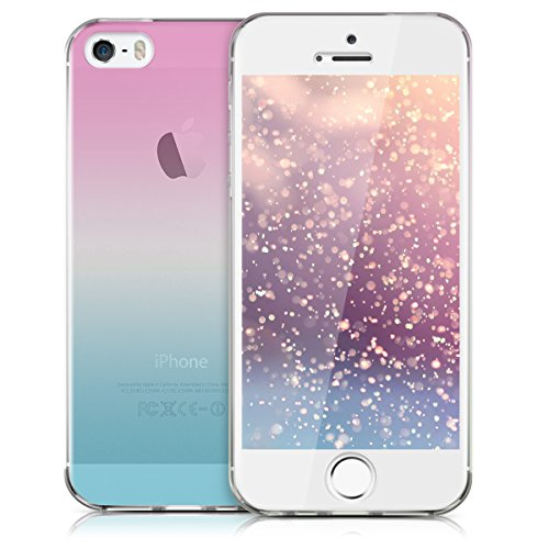 kwmobile Hülle für Apple iPhone SE / 5 / 5S - Full Body TPU Silikon Crystal Case Transparent - Komplett Schutzhülle Cover in Transparent Zwei Farben Pink Blau Transparent