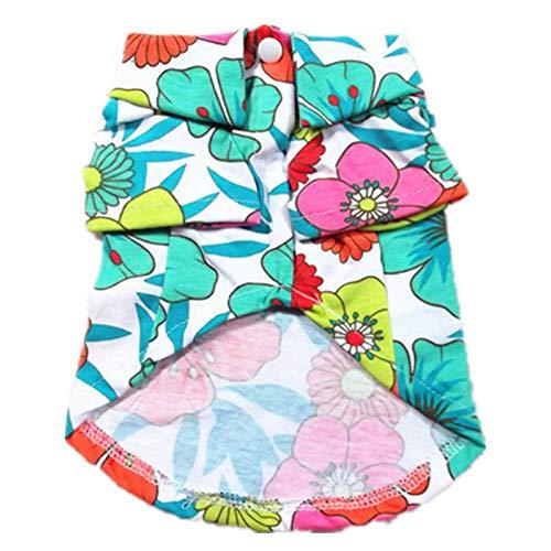 en für Haustiere Sommer Hawaii Serie Druck T-Shirt für Hund Kostüme Blumenfarbe M ()