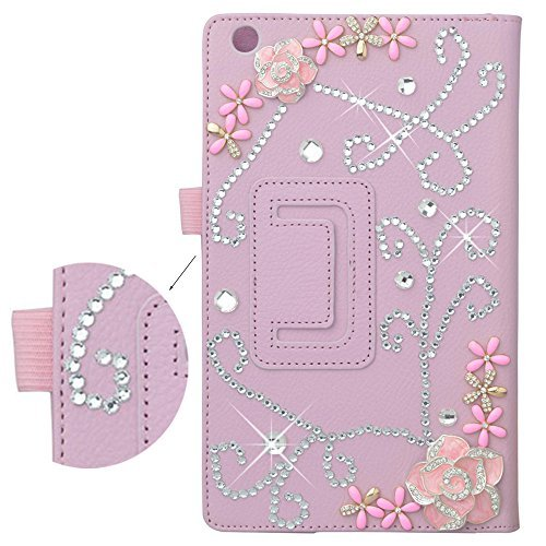 Preisvergleich Produktbild Spritech(TM) Bling Crystal Pink Case Premium PU Leather Folding Stand Case Cover for Lenovo Tab 2 A8-50 8 Inch by Spritech