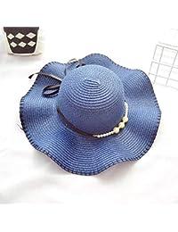 Fzwang Grandes Aleros de Padre-Hijo Hat Sombrero de Pescador Plegable  sombrilla Perla Nudo Paja 76440052dc4