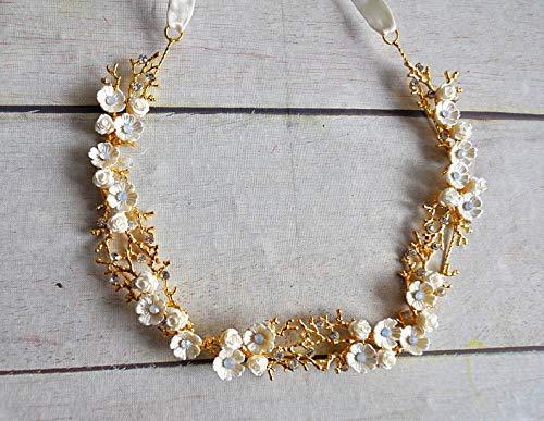 Haarschmuck Haarband Stirnband Braut Kommunion Gold Strass Blumen weiß, ivory