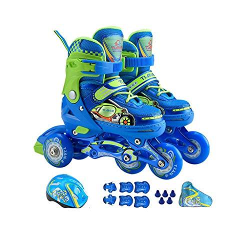 HYM Skates Children es Adjustable Roller Skates-Kids 4 Wheel Quad Skate Illuminating Inline Skates mit Full Light Up LED Wheels, Fun Flashing Roller Skates für Jungen und Mädchen,Blue,XS