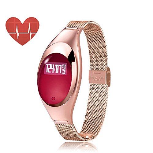 Frau fashion Jewelry Smart Watch Armband Bands mit Blut Druck Messen Herzfrequenz Monitor Bluetooth, Sync für LG iPhone Samsung HTC Huawei Android und IOS Handy, rot